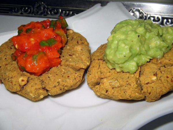 chickpea-biscuits-ajvar-guacamole