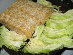 Cabbage and raw tempeh