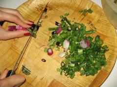 Chopping scallions