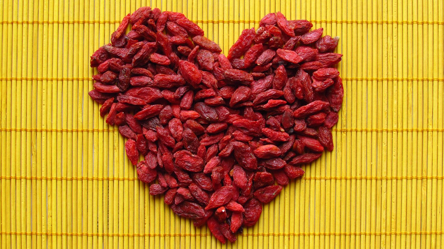 Heart made of goji berries for Valentine's day