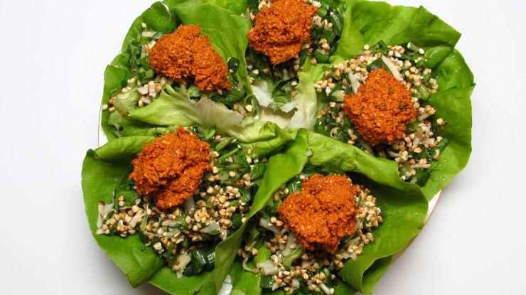 Raw Vegan Dinner - Walnut Lettuce Wraps